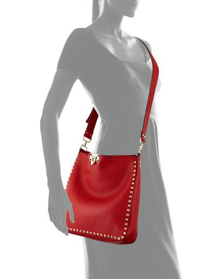 Rockstud Flip-Lock Messenger Bag, Rosso Red