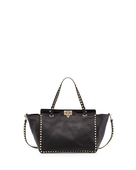 Rockstud East-West Tote Bag, Nero