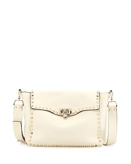 Rockstud Flap Crossbody Bag, Light Ivory