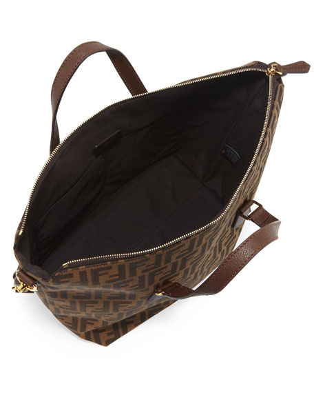 Zucca Large Zip-Top Tote bag, Tobacco/Chestnut