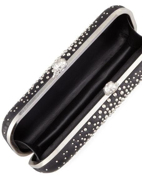 Studded Twin-Skull Box Clutch Bag, Black