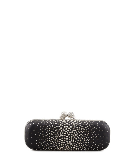 Studded Twin-Skull Box Clutch Bag, Black