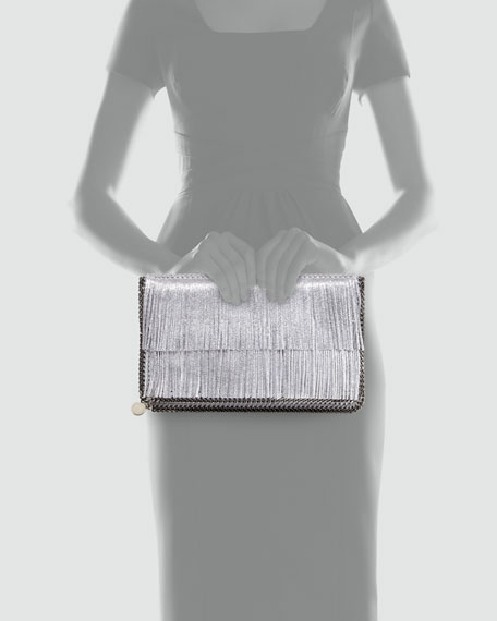 Falabella Fold-Over Fringe Clutch Bag, Silver