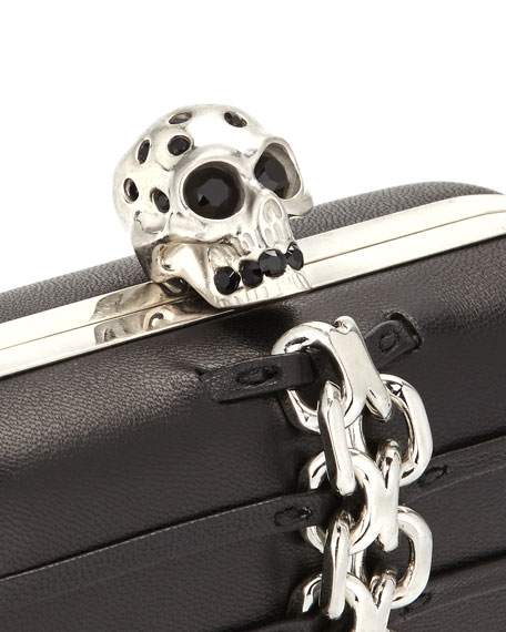 Chain-Trim Skull-Clasp Box Clutch Bag, Black/Nickel