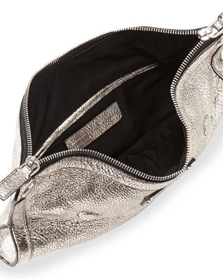 De-Manta Metallic Small Clutch Bag, Silver