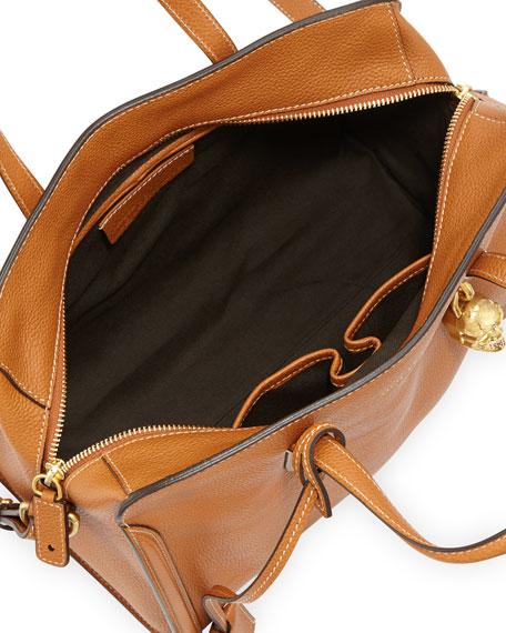Padlock Zip-Around Tote Bag, Tan/Gold