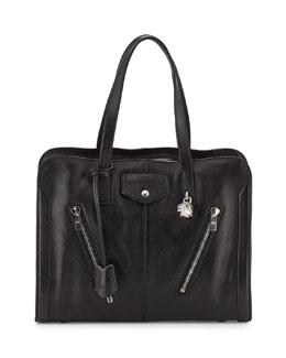 Alexander McQueen Padlock Biker Zip Satchel Bag, Black