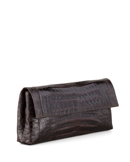 Gotham Crocodile Flap Clutch Bag, Chocolate