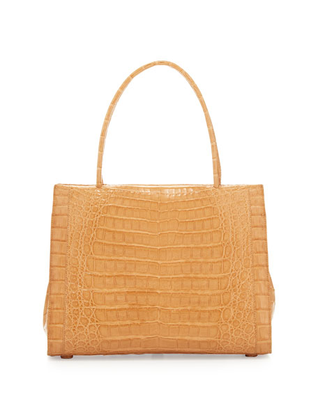 A-Frame Crocodile Medium Satchel Bag, Beige