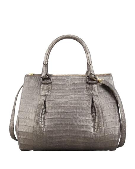 Double-Zip Crocodile Tote Bag, Gunmetal