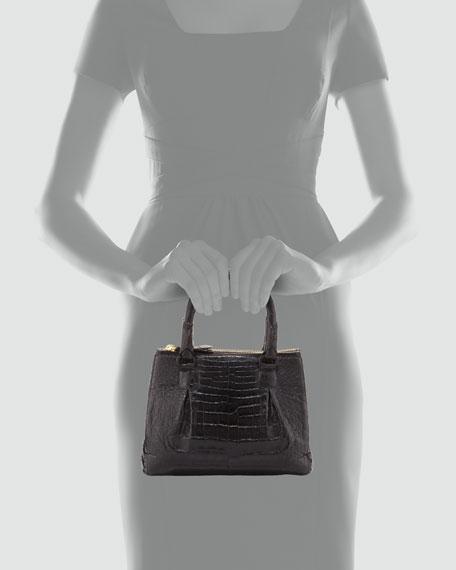 Mini Open-Top Crocodile Tote Bag, Black