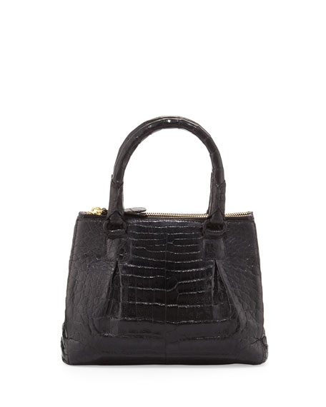 Mini Open-Top Crocodile Tote Bag, Black