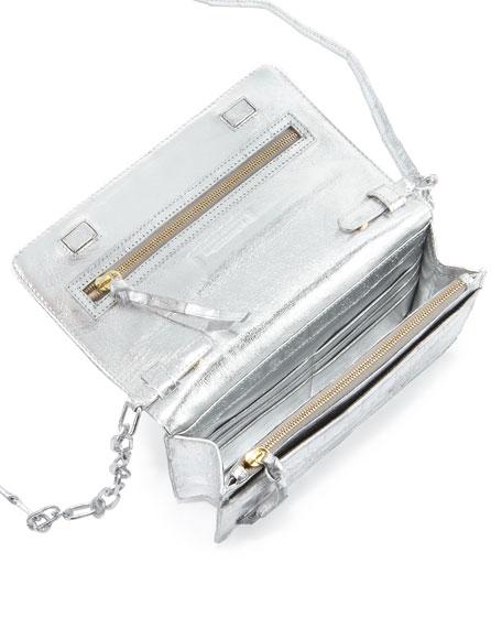 Crocodile Wallet on a Chain, Silver