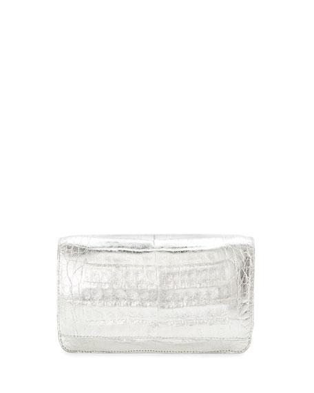 Nancy Gonzalez Crocodile Wallet on a Chain, Silver