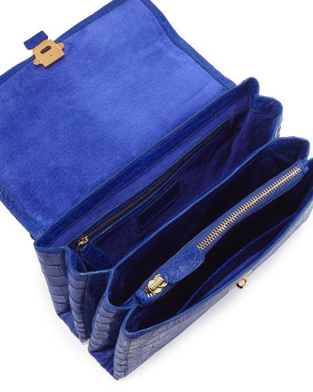Crocodile Small Flap Shoulder Bag, Royal Blue