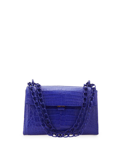 Crocodile Small Flap Shoulder Bag, Royal Blue