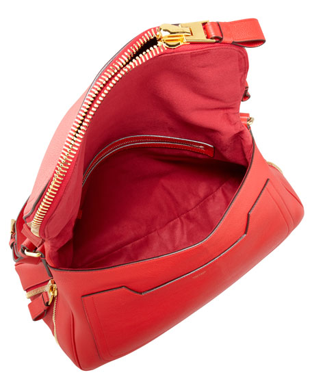 Jennifer Medium Calfskin Shoulder Bag, Flame Red