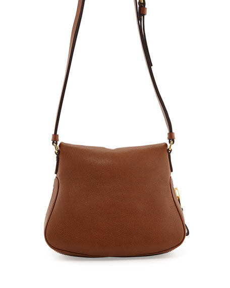 Jennifer Small Calfskin Crossbody Bag, Caramel