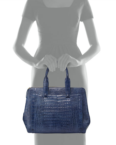 Crocodile Large Zip Tote Bag, Denim