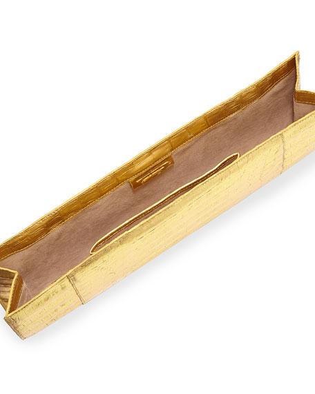 Slicer Slim Metallic Crocodile Clutch Bag, Gold
