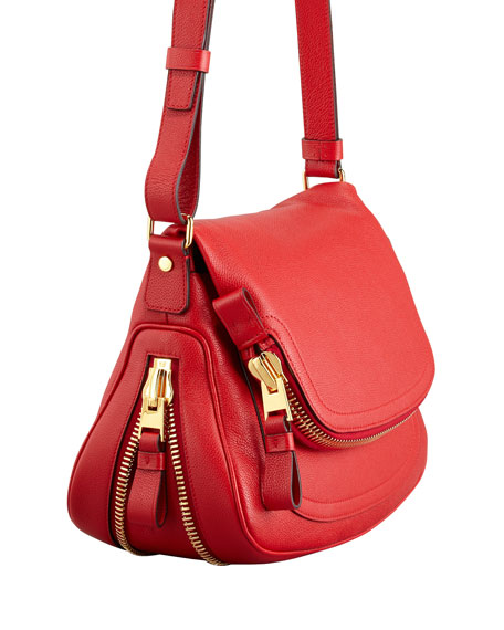 Jennifer Calfskin Crossbody Bag, Flame Red