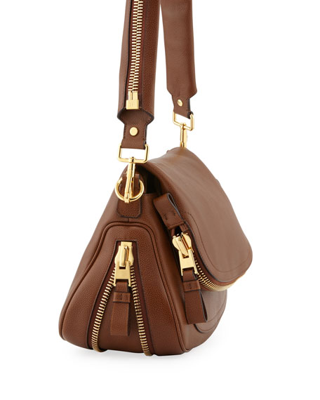 Jennifer Medium Leather Crossbody Bag, Caramel
