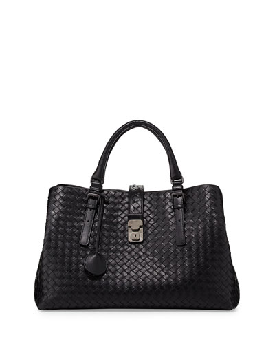 Roma Medium Woven Compartment Tote Bag, Nero