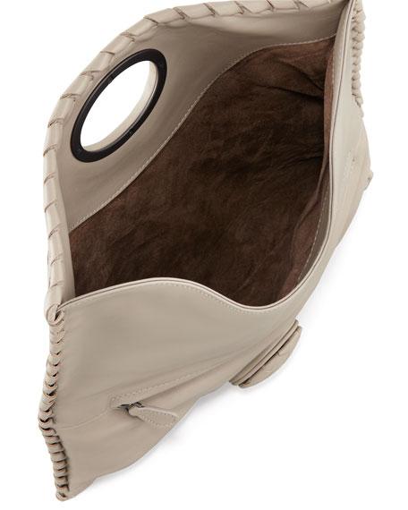 Full-Flap Turn-Lock Clutch Bag, Light Gray