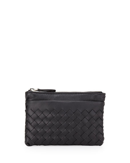 Intrecciato Zip-Top Key Pouch, Black