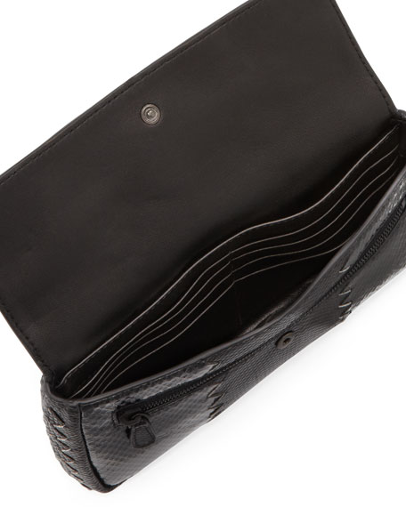 Snakeskin Tri-Fold Envelope Clutch Bag, Black