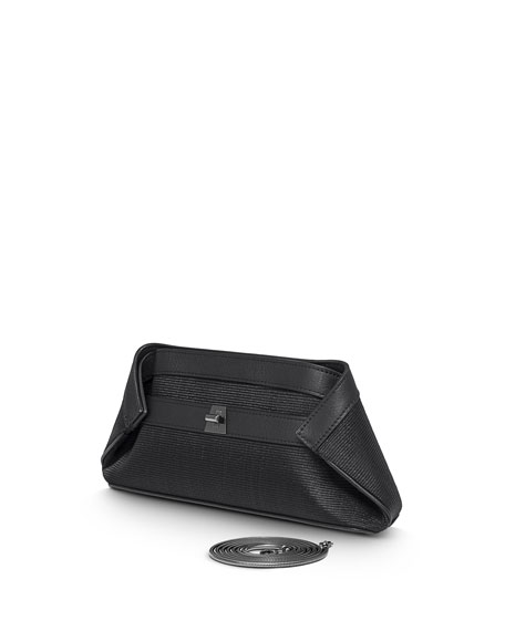 Ai Small Woven Clutch Bag, Black