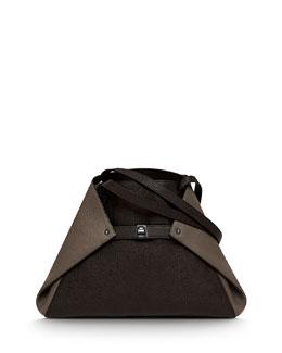 Akris Ai Small Shoulder Tote Bag, Brown Multi