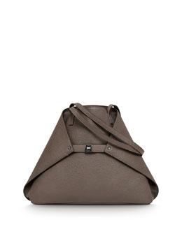 Akris Ai Medium Leather Shoulder Tote Bag, Brown