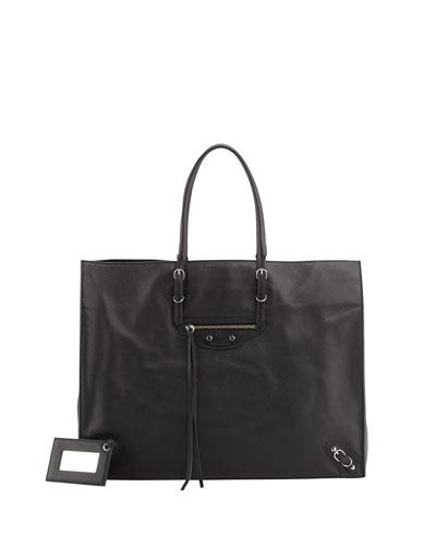 Balenciaga Papier A4 Leather Tote Bag, Black