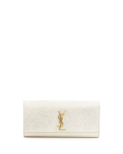 Saint Laurent Monogramme Crinkled Clutch Bag, Platine Silver