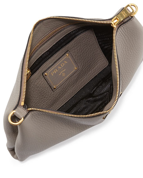 Prada Vitello Daino Flat Zip Crossbody Bag, Gray (Argilla)