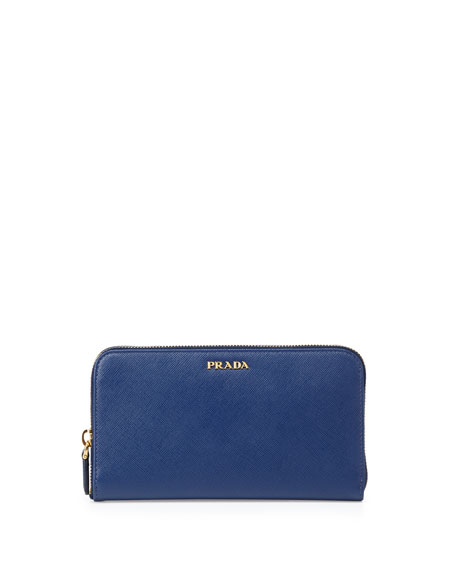 Prada Saffiano Large Zip-Around Continental Wallet, Blue (Bluette)