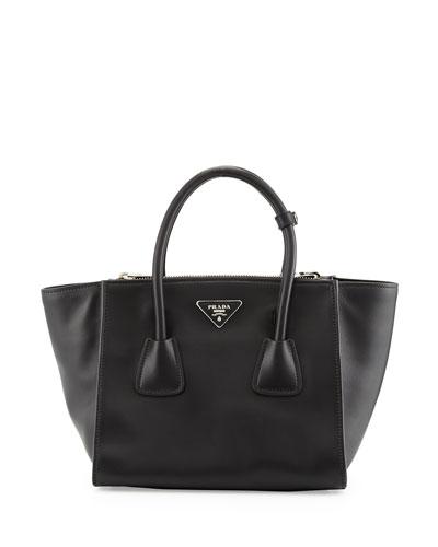 Prada City Calf Twin Pocket Tote Bag, Black (Nero)
