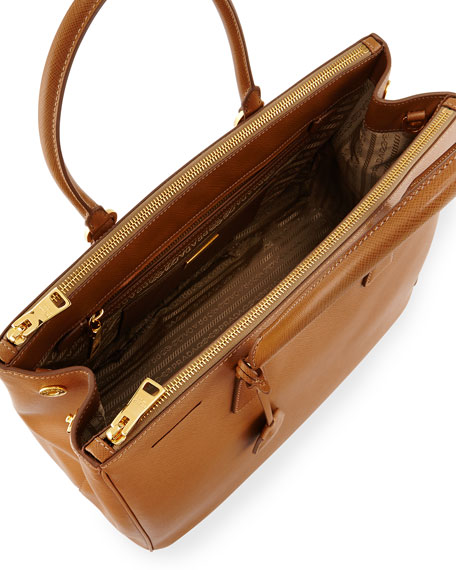 Saffiano Medium Executive Tote Bag, Brown (Caramel)