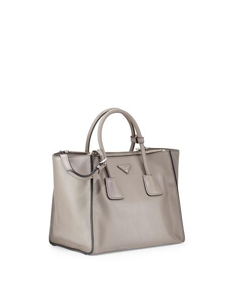 City Calf Large Twin Pocket Tote Bag, Gray (Argilla)