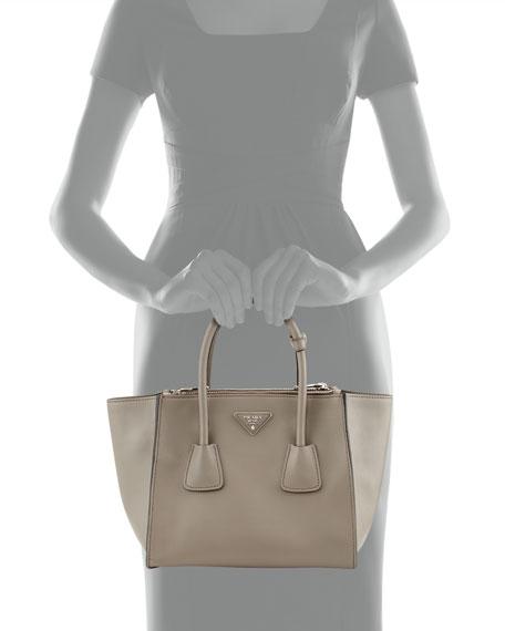 City Calf Twin Pocket Tote Bag, Gray (Argilla)