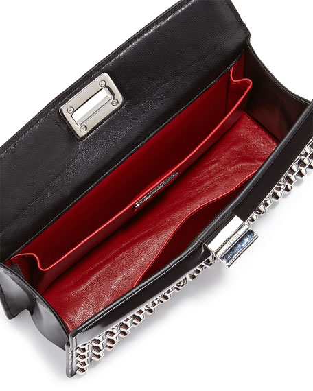 Prada Small Studded Patent Turn-Lock Clutch Bag, Black (Nero)