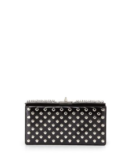 replica prada bags uk - Prada Small Studded Patent Turn-Lock Clutch Bag, Black (Nero)