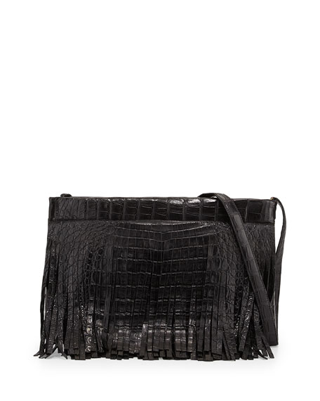 Crocodile Fringe Crossbody Clutch Bag, Black