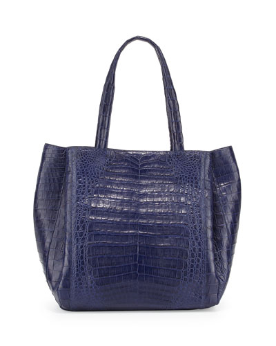 Nancy Gonzalez Medium Soft Crocodile Gusset Tote Bag, Navy Matte