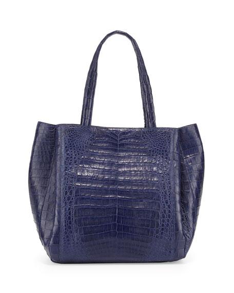Medium Soft Crocodile Gusset Tote Bag, Navy Matte