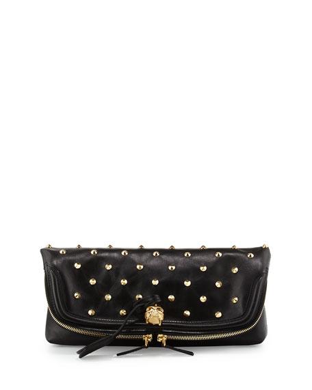 Studded Fold-Over Clutch Bag, Black
