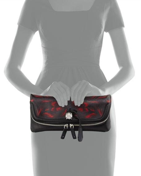 Tulip-Print Fold-Over Clutch Bag, Black