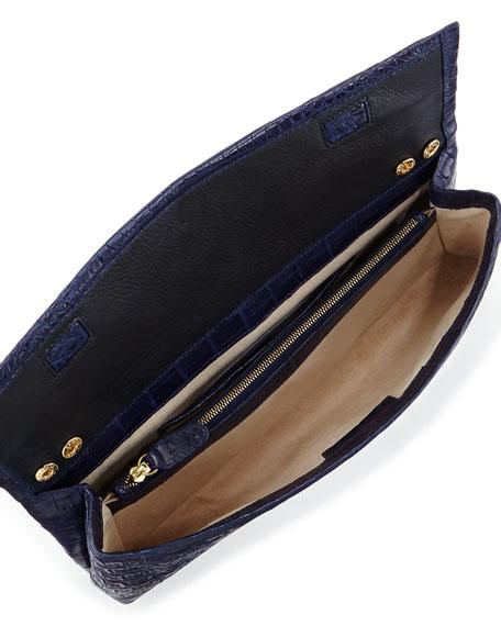 Crocodile Soft Flap Clutch Bag