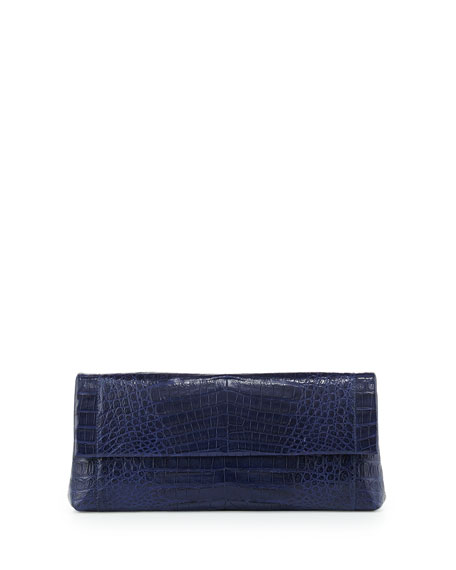 Crocodile Soft Flap Clutch Bag